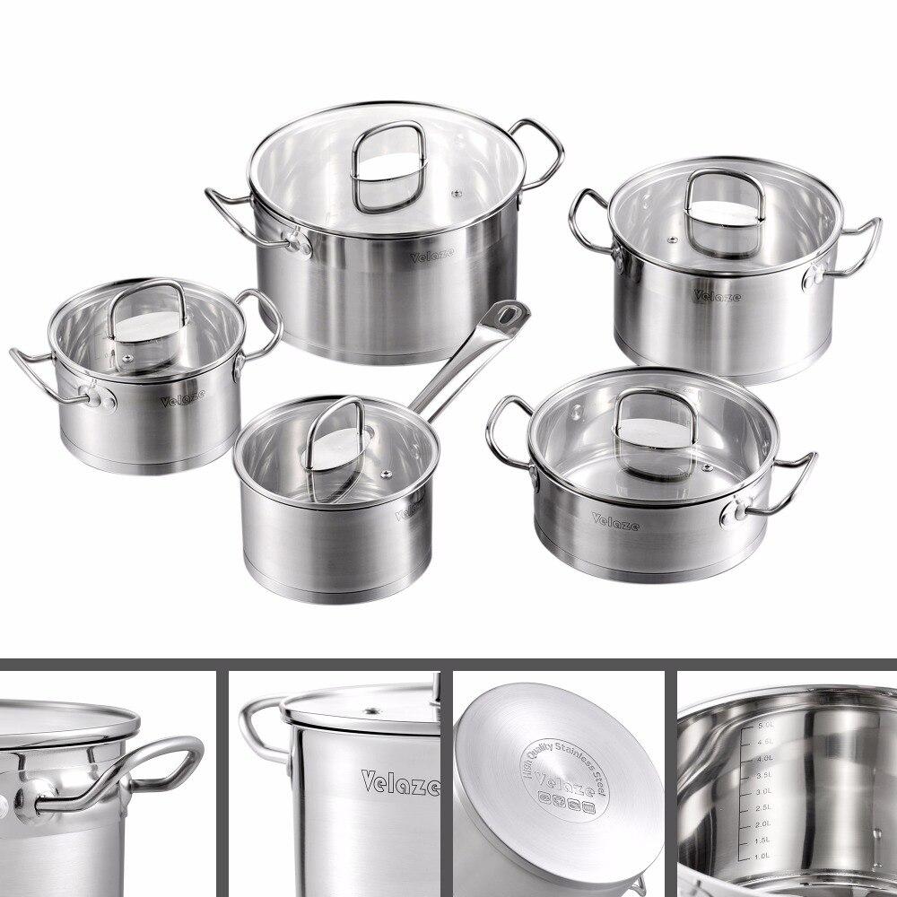 Набор кухонной посуды Velaze, 9 шт., набор кастрюль и сковородок из нержавеющей стали, индукционный сейф, кастрюля, кастрюля, со стеклянной крышк...