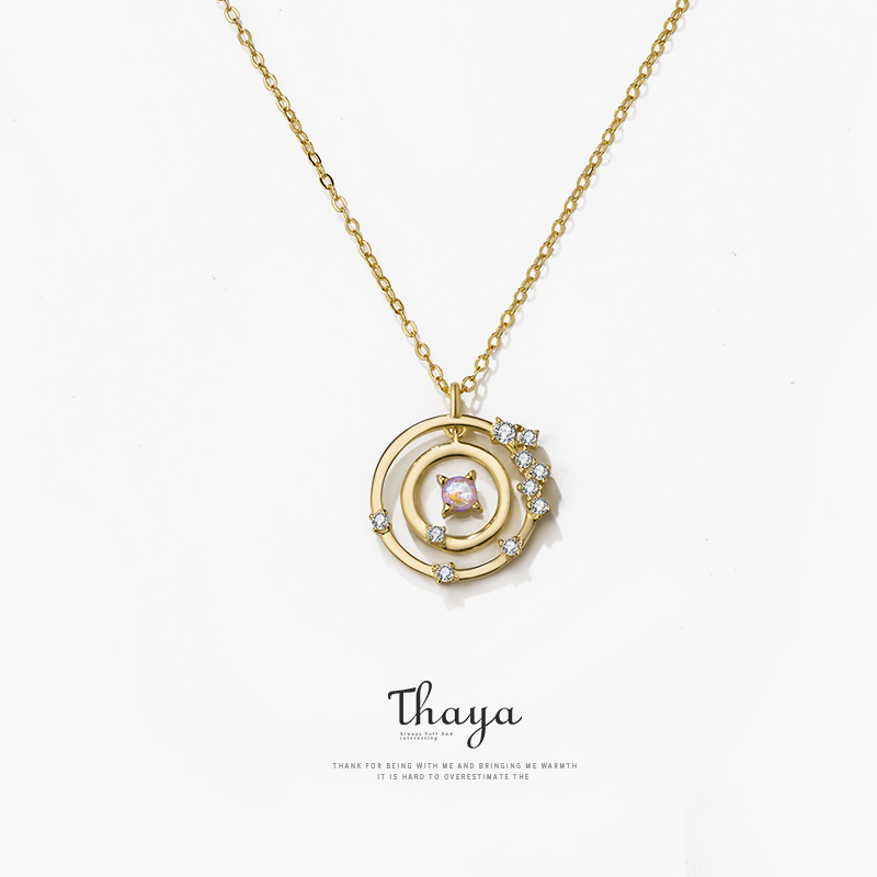 Thaya Silver 925 Jewelry Gold Fantasy Design Star Rail Necklace for Women Bijoux Female Gift