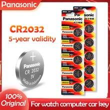 10 pçs original panasonic cr2032 cr 2032 3v bateria de lítio para relógio calculadora relógio de controle remoto brinquedos botão moedas célula