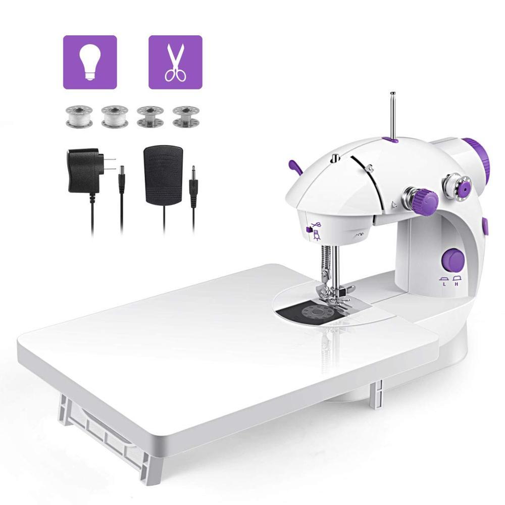 Mini handheld portátil máquina de costura ponto duplo ajuste de velocidade com pé leve costurar costura needlework electrec máquina de costura presente