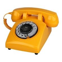 Teléfono con cable de Dial rotatorio teléfono de casa naranja antiguo de moda teléfono de casa clásico teléfonos Vintage mejor regalo para el hogar