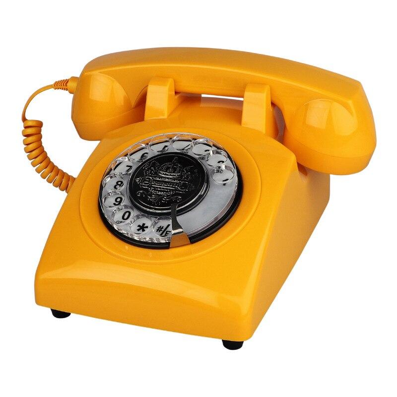Teléfono con cable giratorio, teléfono para el hogar, teléfono antiguo naranja a la moda para el hogar, teléfonos clásicos Vintage, el mejor regalo para el hogar