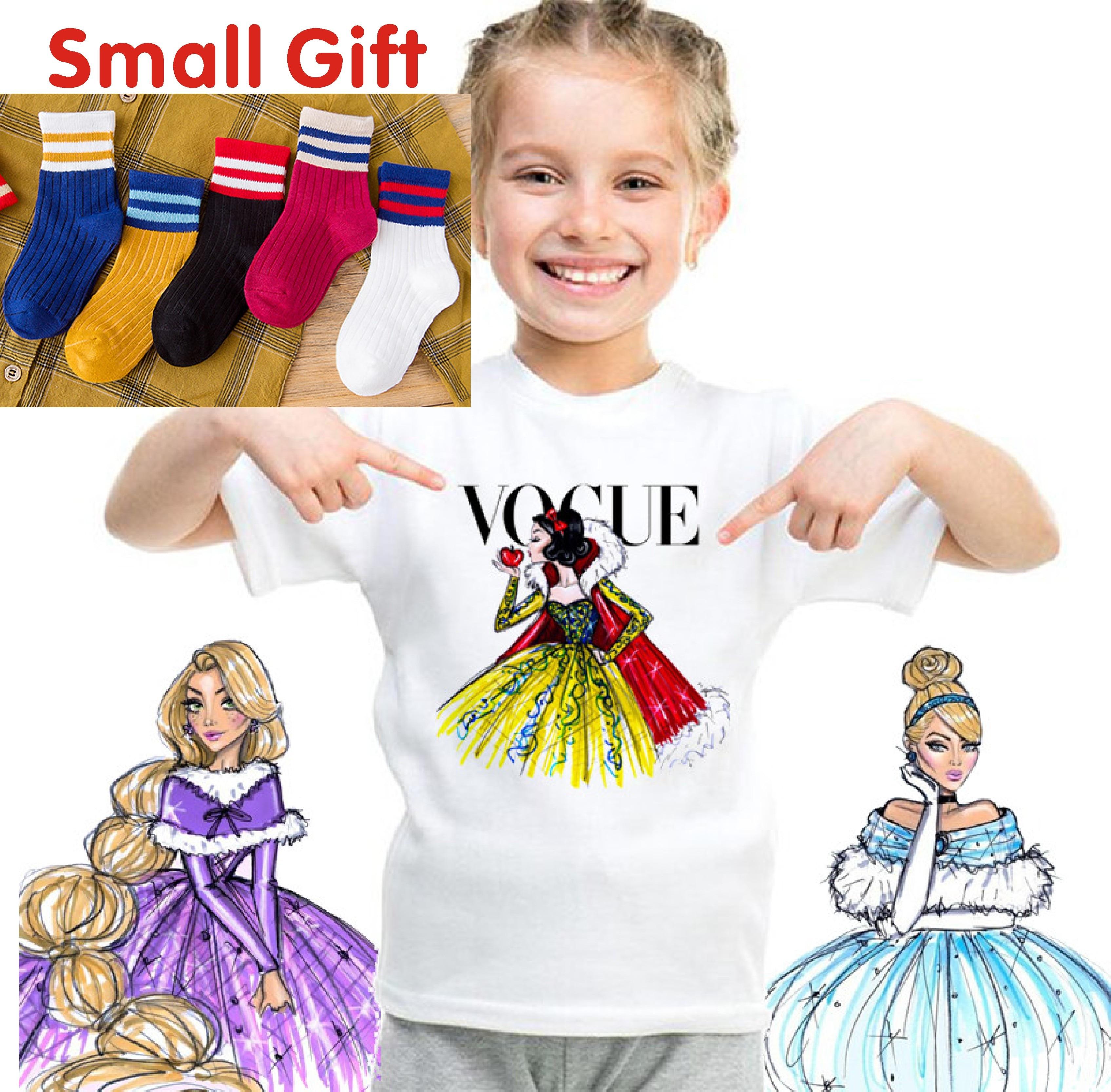 Fashion VOGUE Princess Print Tshirt Children Cartoon Funny Casual Kids Clothes Summer T Shirt For Girls 2-11T