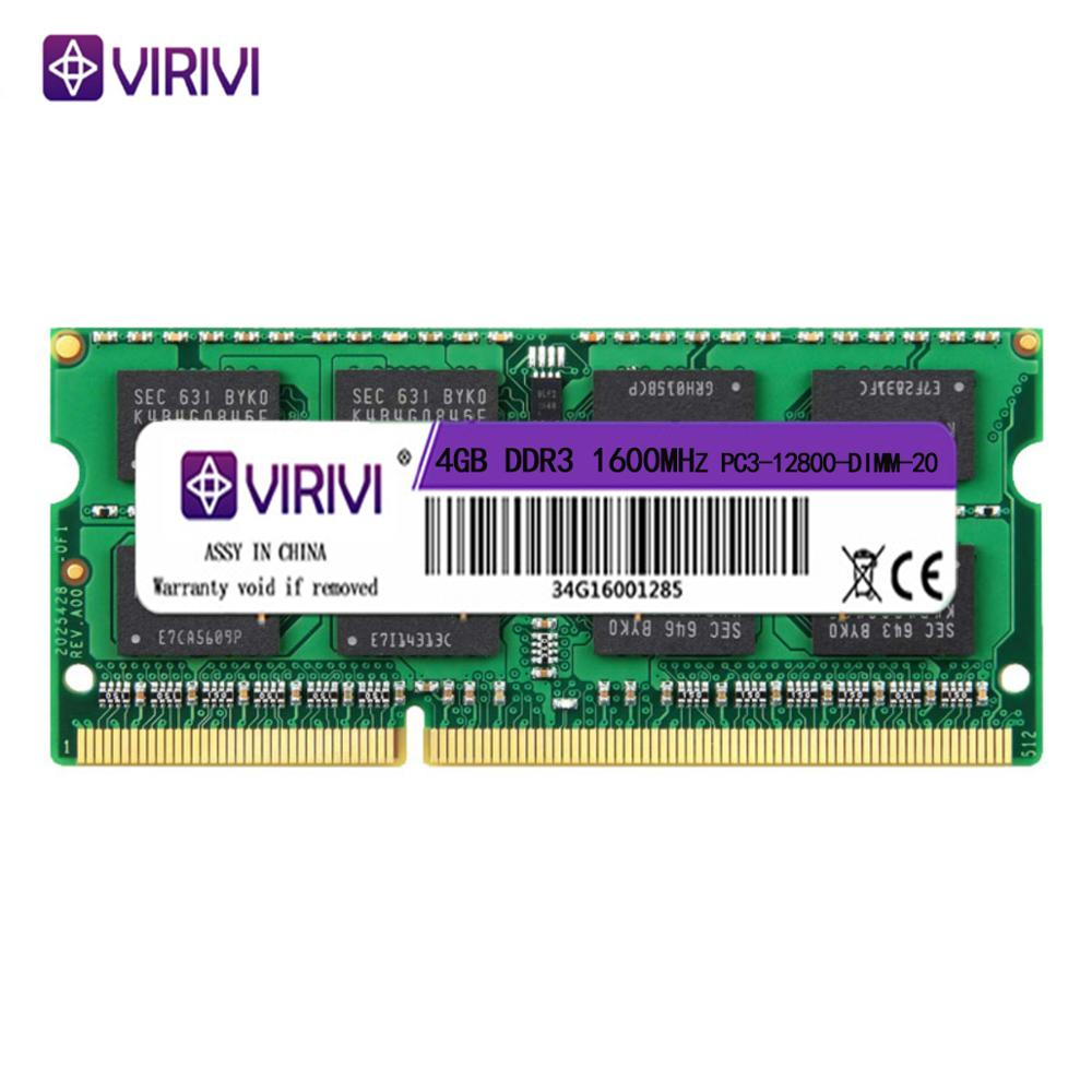 VIRIVI DDR3 4GB 8GB 1333Mhz 1600Mhz SO-DIMM 1.35V 1.5V Notebook RAM 204Pin Laptop Memory Core Kit