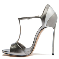 YECHNE Women Open Toe Silvery Heels Sandals Plus Size 33 43 Gladiator Bridal Shoes Party Sexy Heel Height Wedding Sandals