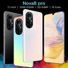 Nova8 Pro 7.1inch Cellphone Full Screen Large Memory 12GB+512GB 6800mAh Face and Screen Fingerprint ID Mobilephone Smartphone
