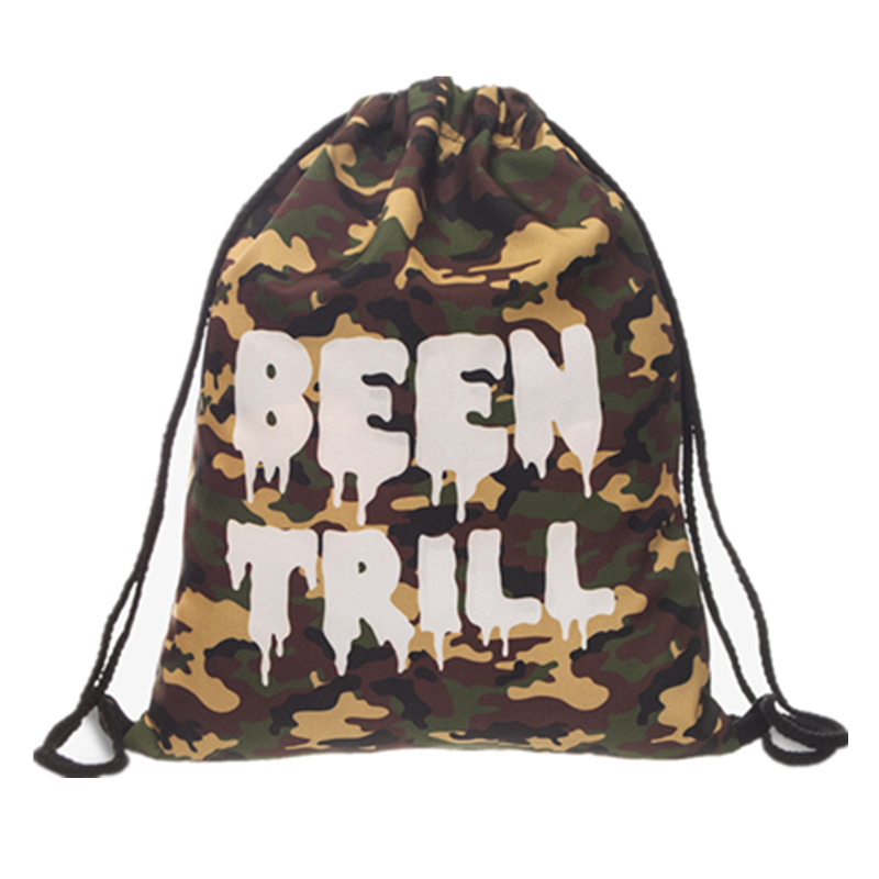 New 3D Printed Drawstring Bag Camo MORO Fashion Mochila Cuerda Harajuku Drawstring Backpack Women Men Modis String Bag Girl