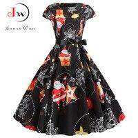 Casual Plus Size Santa Print Black Christmas Dresses Women Summer Vintage Robe Short Sleeves Pinup Elegant Party Dress