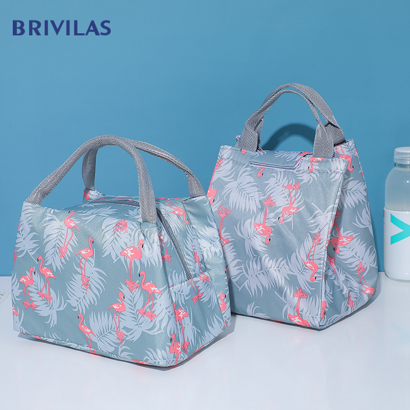 Brivilas Lunch Bag For Breakfast Insulation Cooler Bags Women Fashion Flamingo Super Ligh Thermal  Box Portable Picnic Travel