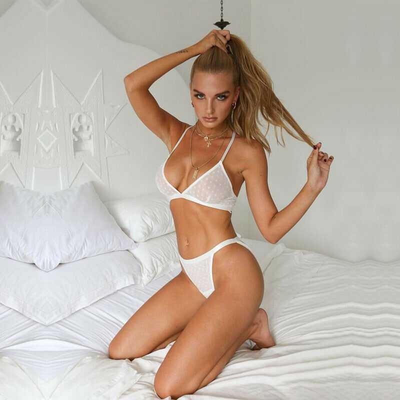 Femmes Sexy-vêtements de nuit à pois nuisette taille haute string string sous-vêtements dentelle non rembourré soutien-gorge et ensembles de slip chaud