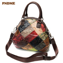 PNDME designer handmade stitching genuine leather ladies handbag luxury embossed cowhide women shoulder messenger bags female