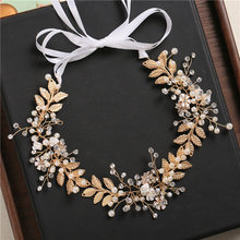 2018 New Style Europe And America-Bride Gold Leaves Hair Band Hair Accessories Glorious Man-made Diamond Headdress Marriage Hand(China)