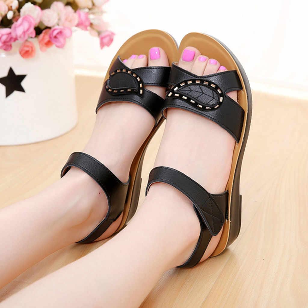 Moda feminina verão sandálias de couro senhoras conforto tamanho grande sapatos estilo romano plue tamanho sapatos zapatos de mujer tacon rosa # g10