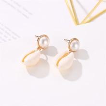 2019 Trendy Sea Shell Pendant Earrings For Women Bohemian Gold/Silver Pearl Drop Earring Statement Za Fashion Jewelry Party Gift цена