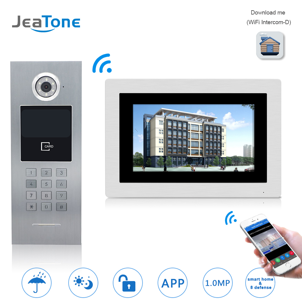 7'' WIFI IP Video Door Phone Intercom Wireless Door Bell Building Security Access Control System Touch Screen Password/IC Card