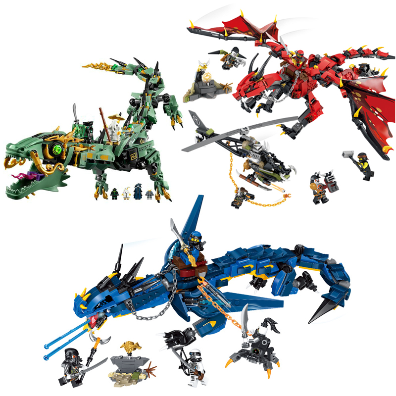 Ninja Flying Mecha Dragon Building Blocks Bricks Toys Model Ninjagoed Figures Model Gifts Compatible with City Friends image
