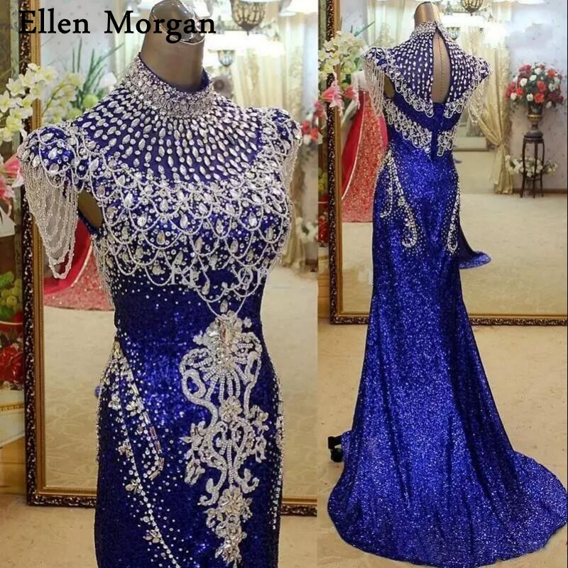 Royal Blue Backless Mermaid Evening Dresses Long 2019 Vintage High Neck Crystals Sequins Court Train Formal Events Party Gowns