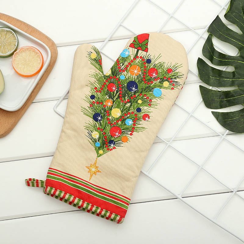 Christmas Long Gloves A Generation Of Fat Bakery High-temperature Resistant Microwave Oven Glove Insulated Heat Resistant Slip G