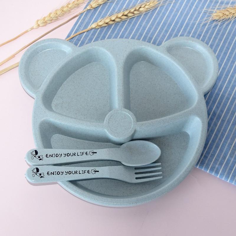 3 шт./компл. Детские чаша+ ложка+ Вилка питания Еда посуда Носки с рисунком медведя из мультика детская посуда, столовая посуда с защитой от перегрева тренировок с суповую тарелку, производство Китай - Цвет: Blue Set