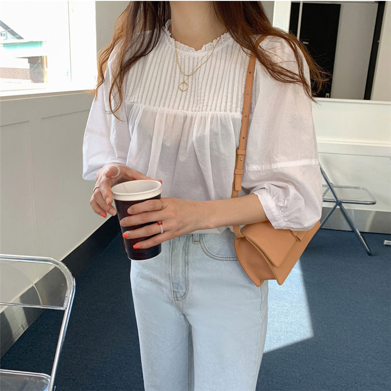 Alien Kitty 2020 White Patchwork Pullovers Sweet Casual Chic Women Hot Loose Leisure Elegance Puff Sleeves High Street Shirts