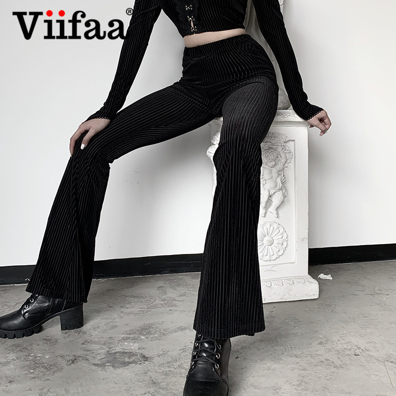 Viifaa Ribbed Black High Waist Slim Fitted Skinny Long Flare Pants Women 2020 Spring Stretchy Trousers Streetwear