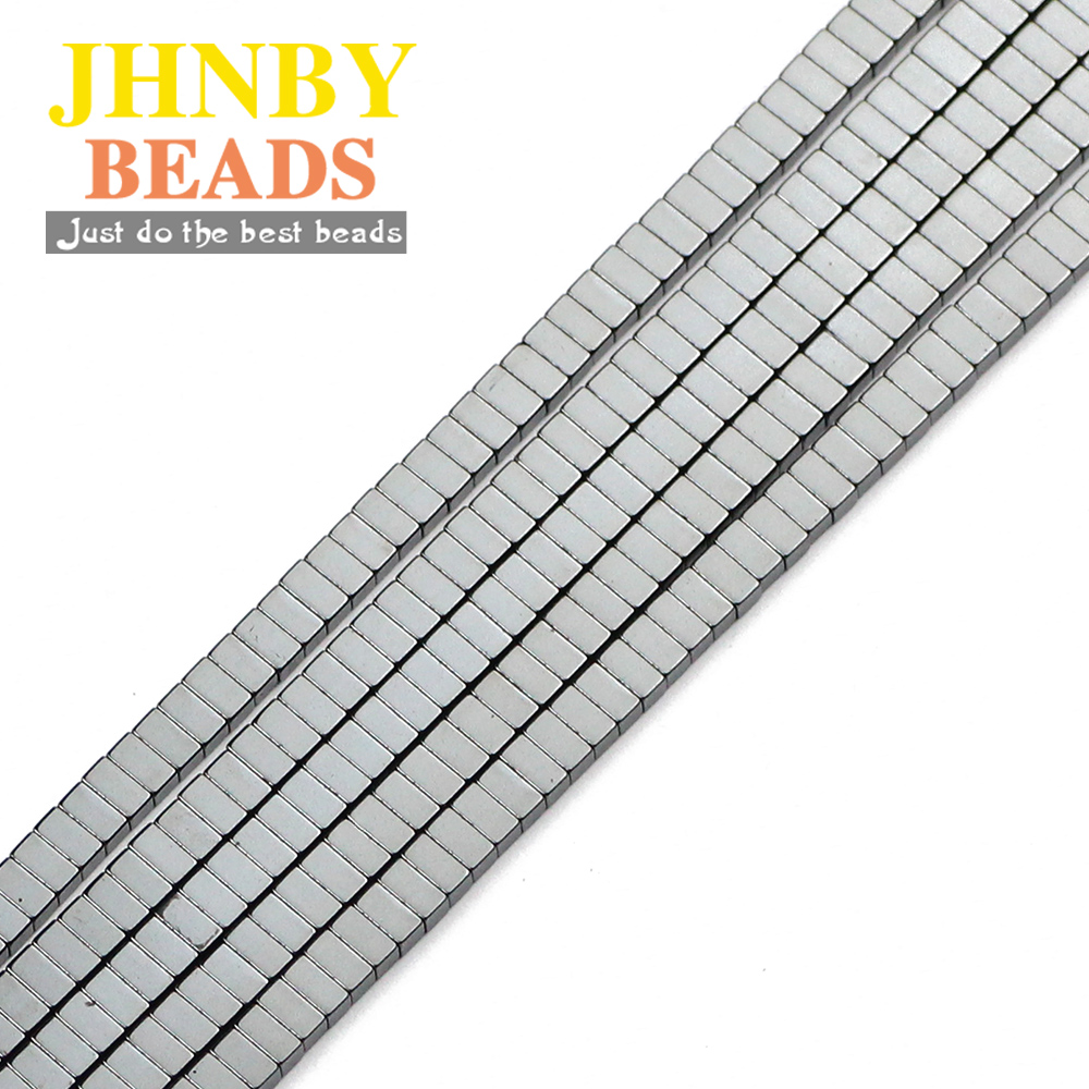JHNBY <font><b>2x4mm</b></font> Cuboid shape Black Hematite <font><b>Natural</b></font> <font><b>Stone</b></font> rectangular spacer Loose beads for Jewelry bracelets Making DIY Findings image