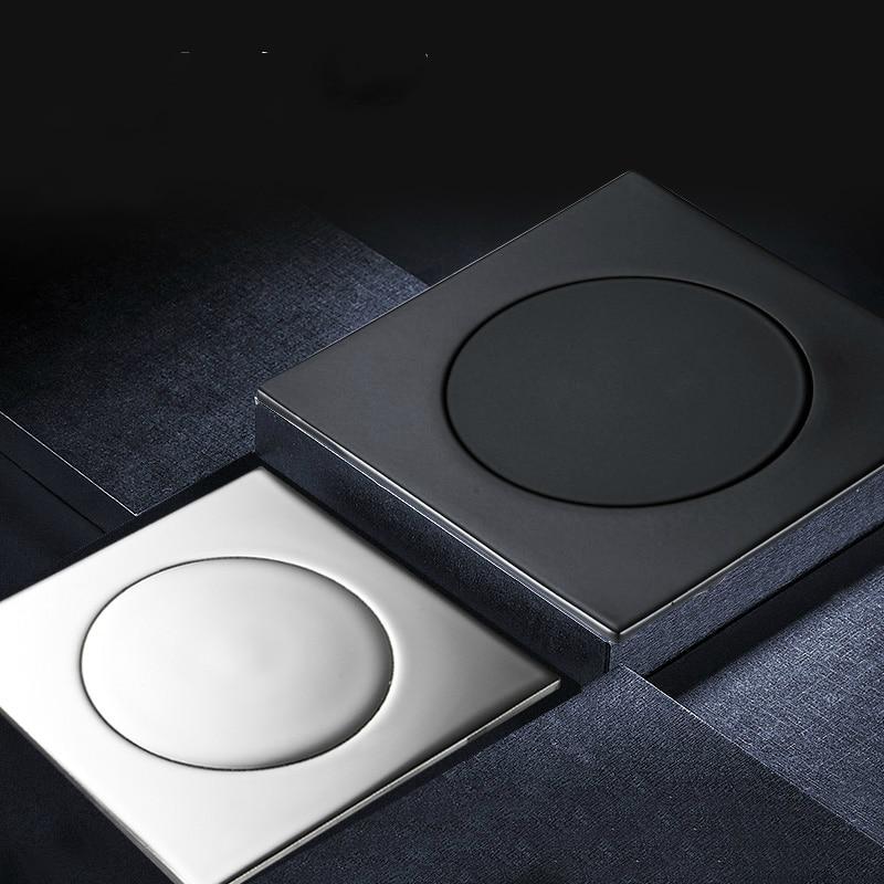 Solid Brass Bathroom Accessories Square Matte Black Floor Drains Push Down Pop-up Deodorization Typemat 10*10cm Shower Drain