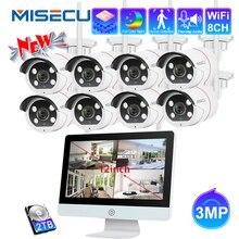 Miecu sistema WiFi CCTV de 3MP, Monitor de 12 pulgadas, NVR, cámara de seguridad CCTV, Kit de Visión Nocturna exterior de Audio bidireccional