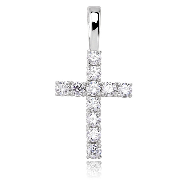 S925 Sterling Silver Prong Setting Moissanite Bling Ice Out Cross Pendants Necklaces for Women Men Hip Hop Rapper Jewelry