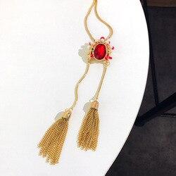 Estilo chinês peking opera facial maquiagem colar feminino longo metal borlas retro camisola corrente novo estilo colar de cristal rubi