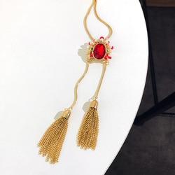 Estilo chino Peking Opera Facial collar maquillaje mujer largo borlas metálicas cadena retro sweater nuevo estilo rubí Crystal collar