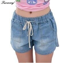 7XL New spring 2020 pantaloncini moda donna denim pantaloncini femminili Jeans corti blu solido stile foro plus size per donna pantaloncini 862