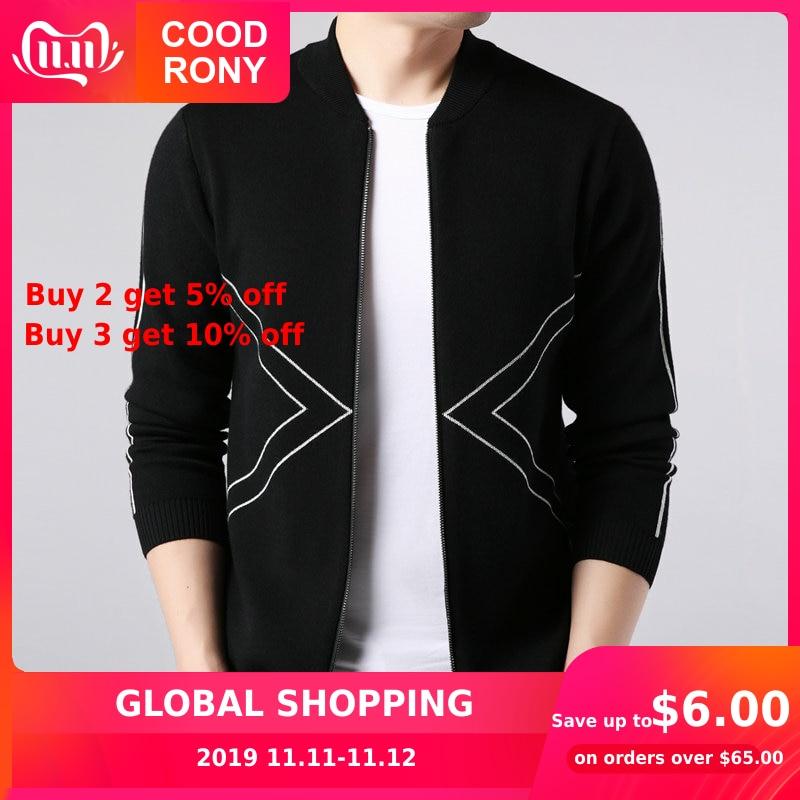COODRONY Brand Sweater Coat Men Autumn Winter Thick Warm Knitted Wool Cardigan Men Streetwear Fashion Striped Zipper Coats 91090