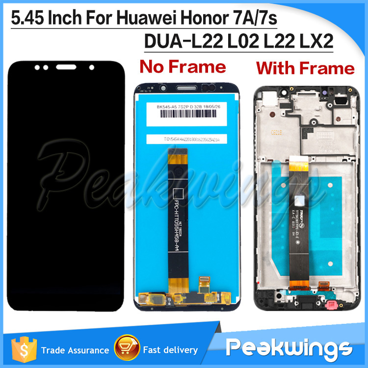 5.45''  For Huawei Honor 7A LCD Display Touch Screen Digitizer 7S DUA-L22 L02 L22 LX2 For Huawei Honor 7S LCD Screen With Frame