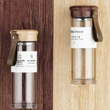 Double Wall Tea Infuser Bottle Portable Leather Handle Crystal Glass Water Business Coffee Filter Cup Travel
