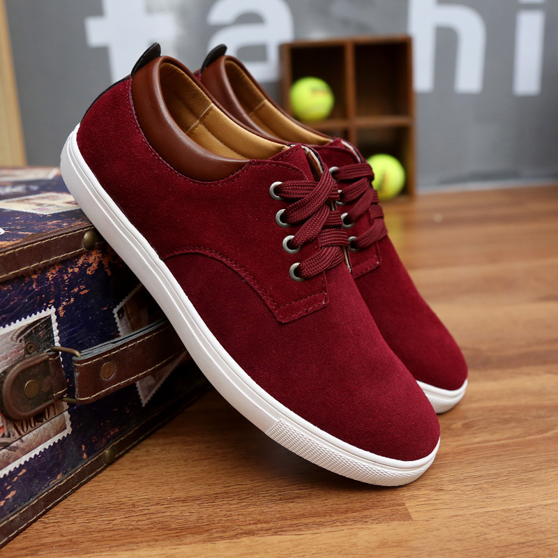 Spring/Autumn 2019 New Men Shoes Fashion Sneakers Casual Luxury Shoes Men Cow Suede Lace-up Low-cut High Quality Plus Size 38-49 1