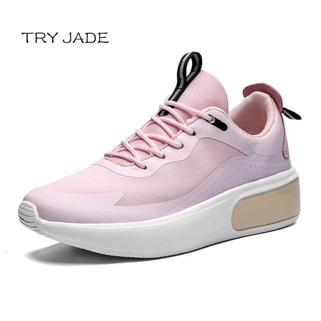 Zapatillas de deporte de tacón alto para mujer, zapatos femeninos de plataforma, color rosa, a la moda, estilo coreano, ligeros, vulcanizados 2