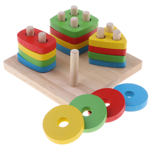 Wooden Stacking Geometry Block Toy Montessori Educational Early Color Shapes Sorting Game Developmental Kids Baby Gift