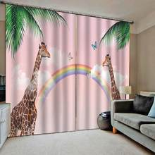kids Blackout curtain animal rainbow curtains 3D Window Curtain For Living Room Bedroom Drapes Cortinas Customized size(China)