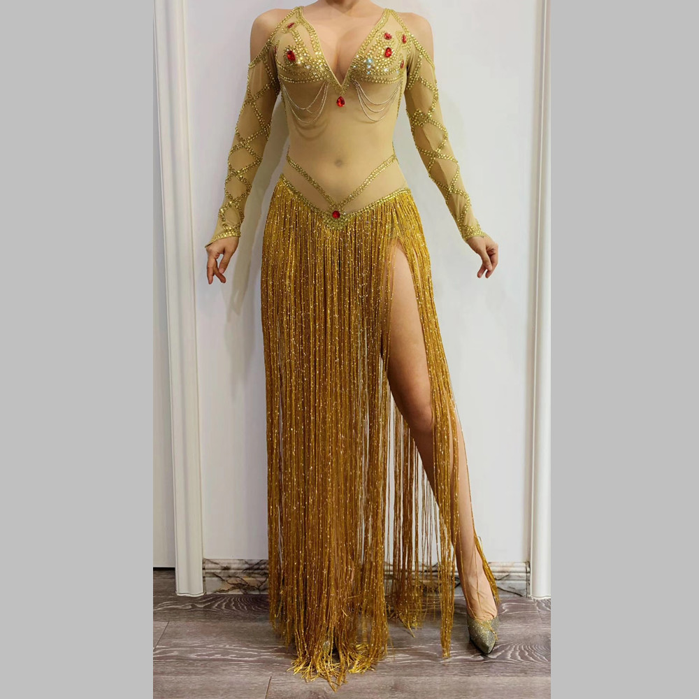 Sexy India Dance Mesh Perspective Tassel <font><b>Dress</b></font> Women Gold Crystal Club Party Long <font><b>Dress</b></font> <font><b>DJ</b></font> Singer Stage Performance Fringe <font><b>Dress</b></font> image