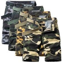 Pantalones cortos militares de camuflaje para hombre, de talla grande, hasta la rodilla, informales, de algodón, para verano