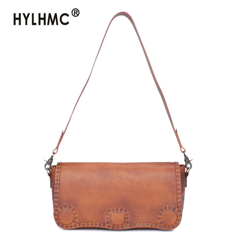 2020 new fashion vintage leather Women bag horizontal section female small square shoulder messenger bags Cowhide leather women