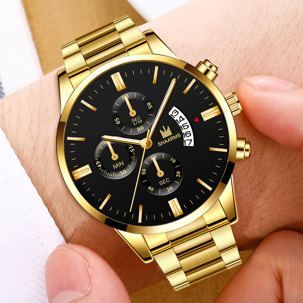 Man Wristwatch Fashion Black Stainless Steel Analog Quartz Wristwatch Male Men Luxury Date Watches Business Clock 2019