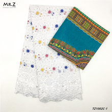 Mr.Z Cotton Swiss Voile Lace Fabric 2.5 Yards For Clothes&Cotton Printed Wax 3 Yards For A Scarf цены