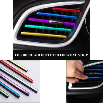 10 Pcs Auto Car Accessories Colorful Air Conditioner Air Outlet Decoration Strip Modified Interior Supplies image