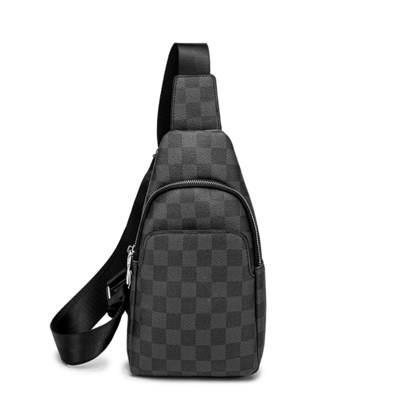 Horizonplus Check Pattern Fashion Trendy Men Chest Bag Male Breast Bag Vegan Leather