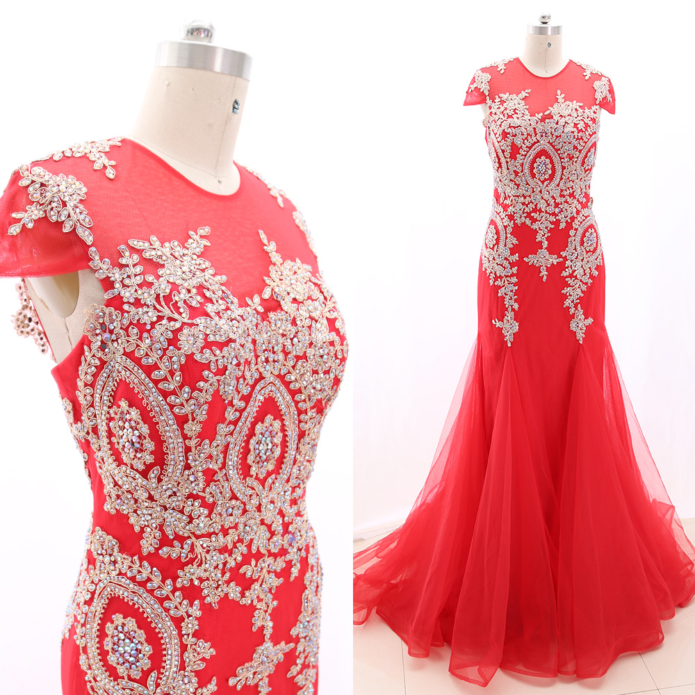 MACloth Red Sheath O Neck Floor-Length Long Crystal Tulle   Prom     Dresses     Dress   M 267276 Clearance