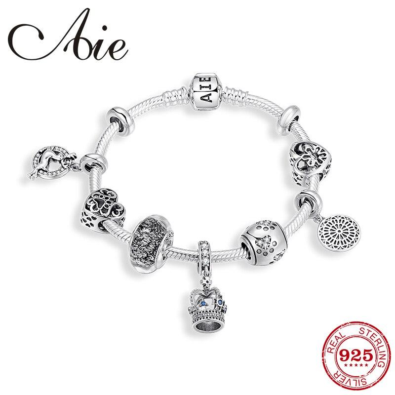 100% Настоящее серебро 925 пробы, браслеты для женщин, корона, подвеска в форме сердца, амулеты, цепочка со змеиным узором, браслет, дружба, Femme, ю
