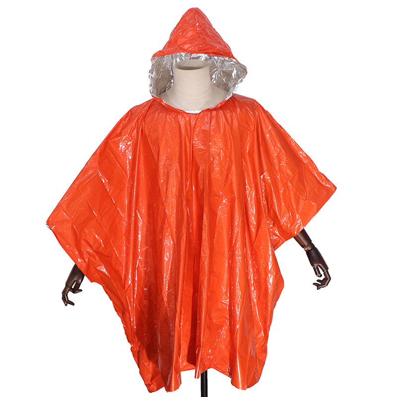 Multi-functional Foil Poncho Raincoat Waterproof Outdoor Survive Rescue Blanket