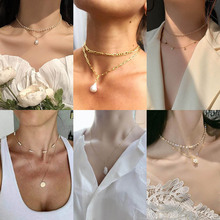 Kpop Pearl Choker Necklace Gold Layered Chain Cute Necklaces for Women Neck Clavicle Pendant Necklace egirl collier Jewelry Gift dominated women pendant necklaces a short section of pearl necklace and exaggerated fashion multi clavicle necklace